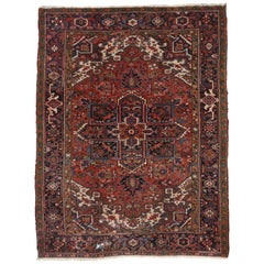 Vintage Heriz Persian Area Rug with Federal and American Colonial Style