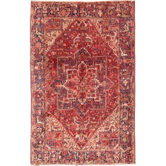 Vintage Heriz Persian Rug with Stylized Geometric Medallion in Red & Denim Blue