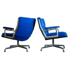 "Vintage Herman Miller ""Eames Time Life Lounge Chair"" in Primary Blue Velvet"