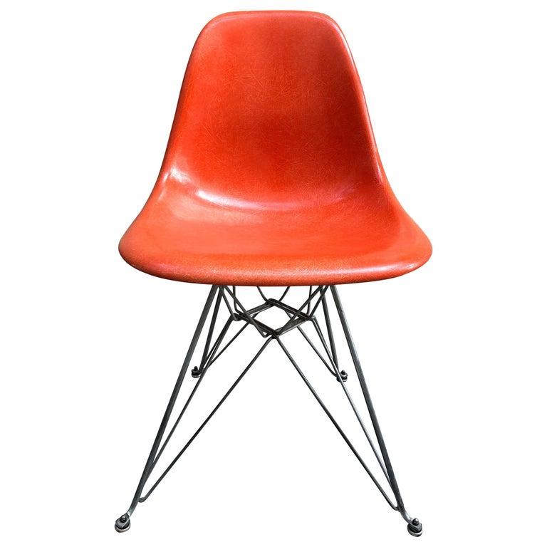 Vintage Herman Miller Chairs >> Vintage Herman Miller Fiberglass Shell Chair By Charles Eames Orange