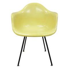 Vintage Herman Miller Yellow Fiberglass Eames Shell Armchair H Base 'B'