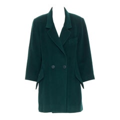 vintage HERMES 100% cashmere green spread collar double breasted coat Fr44 XL