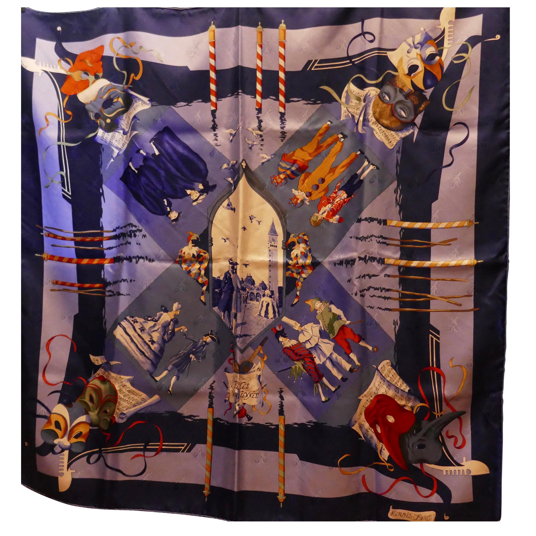 """Vintage Hermes 100% Silk Scarf """"Fetes Venetiennes"""" by  Hubert de Watrigant 1993"""