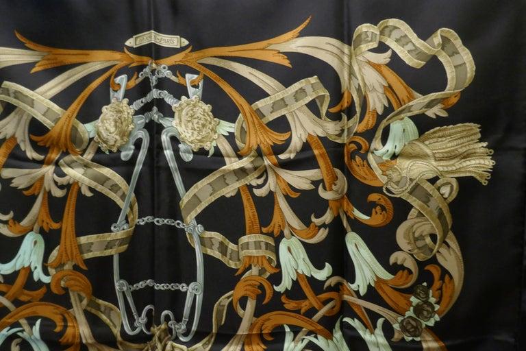 "Vintage Hermes 100% Silk Scarf "" Mors a la Conetable "" by  Henri d'Origny 1970 For Sale 7"