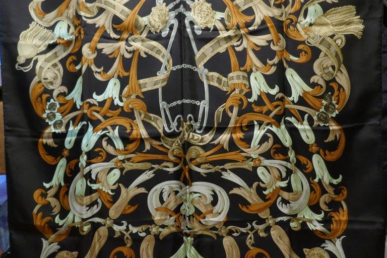"Vintage Hermes 100% Silk Scarf "" Mors a la Conetable "" by  Henri d'Origny 1970 For Sale 8"