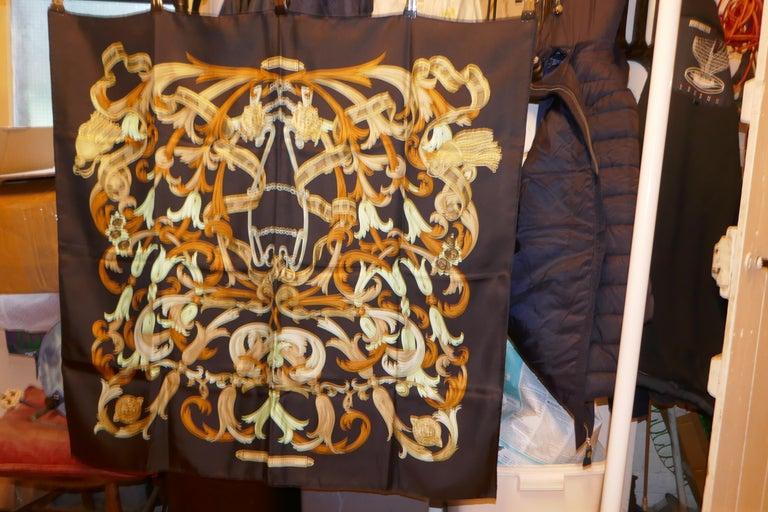 "Vintage Hermes 100% Silk Scarf "" Mors a la Conetable "" by  Henri d'Origny 1970 For Sale 9"