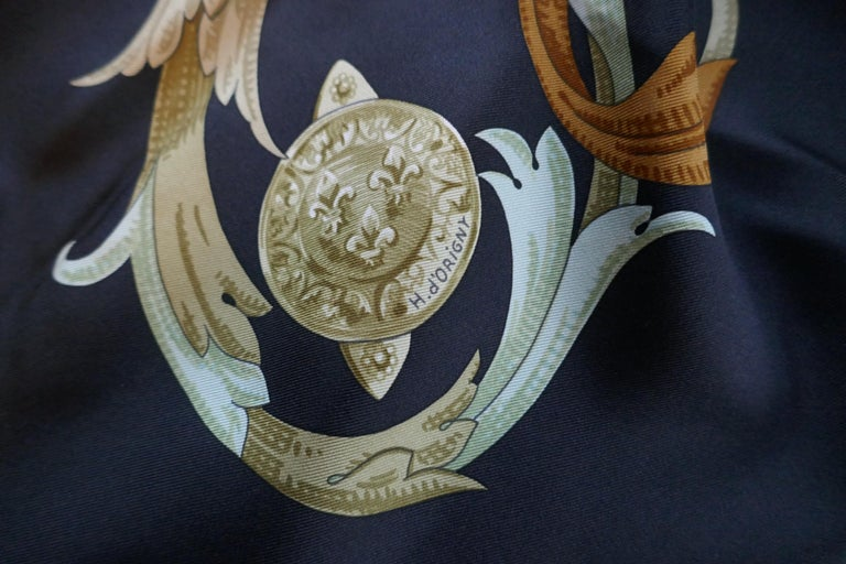 """Vintage Hermes 100% Silk Scarf """" Mors a la Conetable """" by  Henri d'Origny from 1970  Authentic un worn Vintage Hermes Silk Scarf, in excellent condition An equestrian theme with the traditional Hermes theme of entwined bits  Delightful Black"""