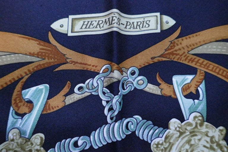 """Vintage Hermes 100% Silk Scarf """" Mors a la Conetable """" by  Henri d'Origny 1970 In Excellent Condition For Sale In Chillerton, Isle of Wight"""