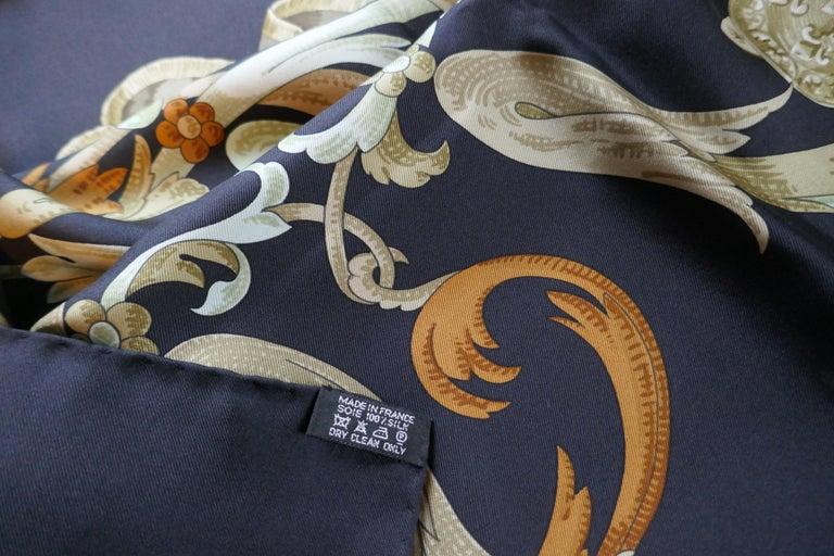 "Vintage Hermes 100% Silk Scarf "" Mors a la Conetable "" by  Henri d'Origny 1970 For Sale 1"