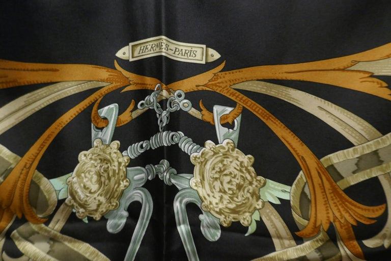 "Vintage Hermes 100% Silk Scarf "" Mors a la Conetable "" by  Henri d'Origny 1970 For Sale 4"