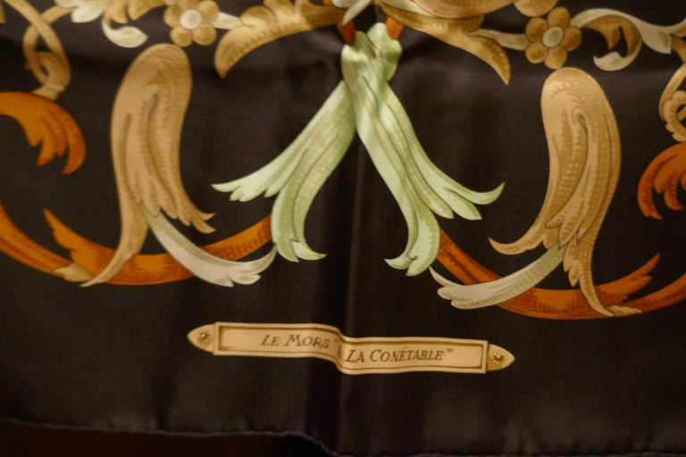 "Vintage Hermes 100% Silk Scarf "" Mors a la Conetable "" by  Henri d'Origny 1970 For Sale 5"
