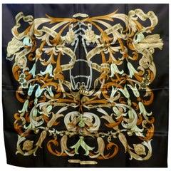 "Vintage Hermes 100% Silk Scarf "" Mors a la Conetable "" by  Henri d'Origny 1970"