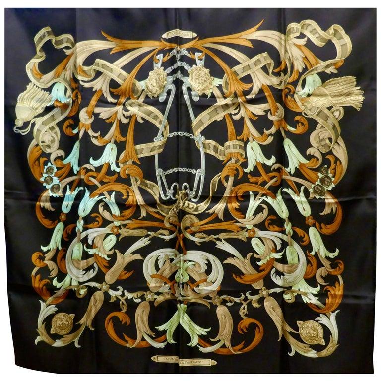 "Vintage Hermes 100% Silk Scarf "" Mors a la Conetable "" by  Henri d'Origny 1970 For Sale"