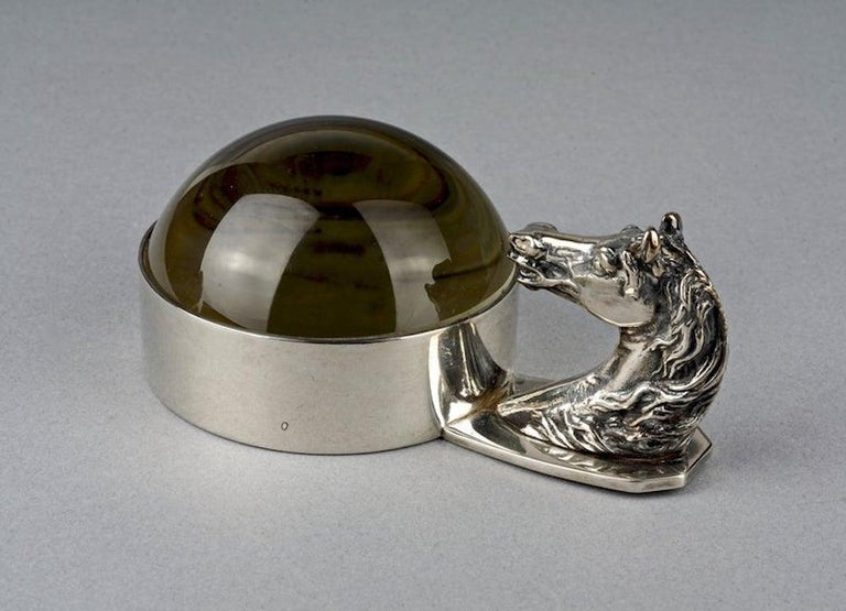 Vintage HERMES Art Deco Horse Head Paperweight Magnifying Glass In Good Condition For Sale In Kingersheim, Alsace