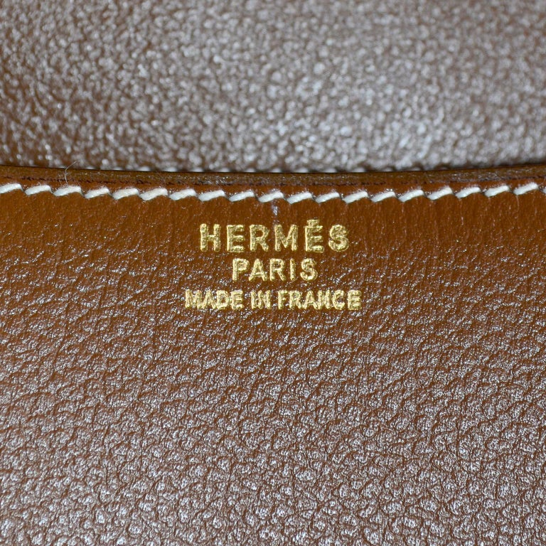 Vintage Hermes Bag in Brown Leather With Horse bit Buckle 1985 Handbag With Box For Sale 8