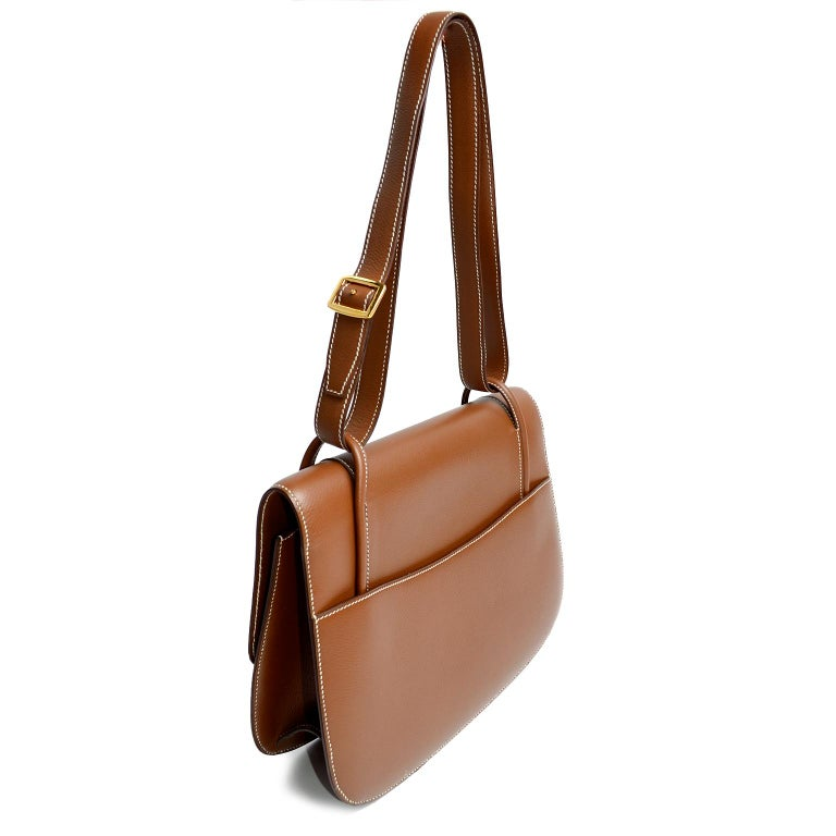 Women's Vintage Hermes Bag in Brown Leather With Horse bit Buckle 1985 Handbag With Box For Sale