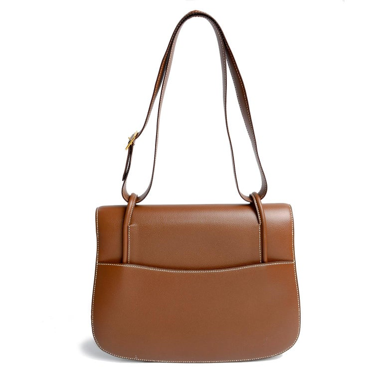 Vintage Hermes Bag in Brown Leather With Horse bit Buckle 1985 Handbag With Box For Sale 1