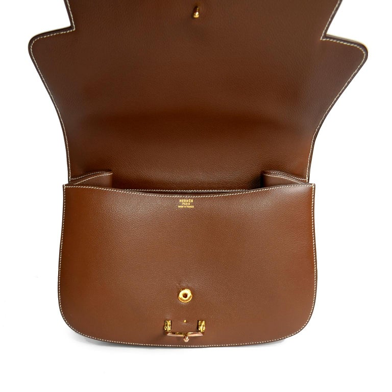 Vintage Hermes Bag in Brown Leather With Horse bit Buckle 1985 Handbag With Box For Sale 2