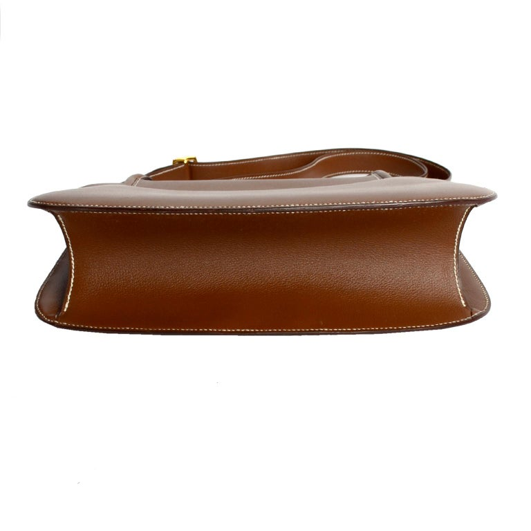 Vintage Hermes Bag in Brown Leather With Horse bit Buckle 1985 Handbag With Box For Sale 3