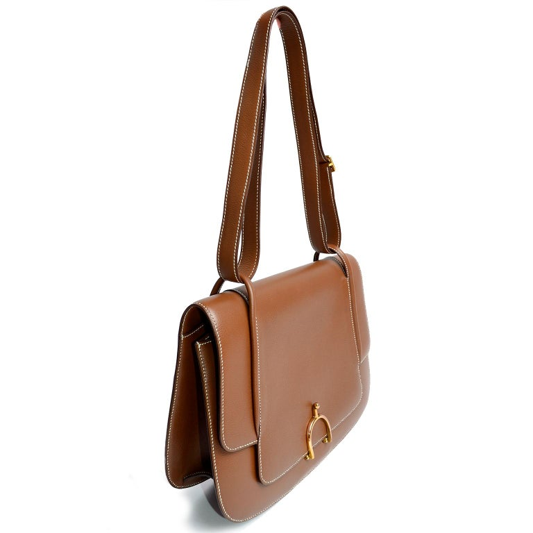 Vintage Hermes Bag in Brown Leather With Horse bit Buckle 1985 Handbag With Box For Sale 4