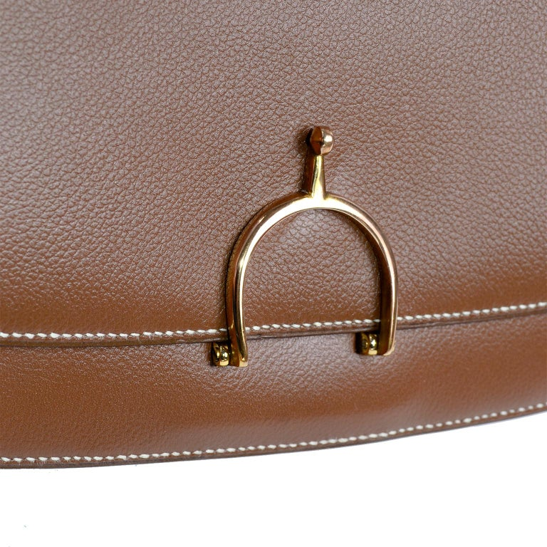 Vintage Hermes Bag in Brown Leather With Horse bit Buckle 1985 Handbag With Box For Sale 5