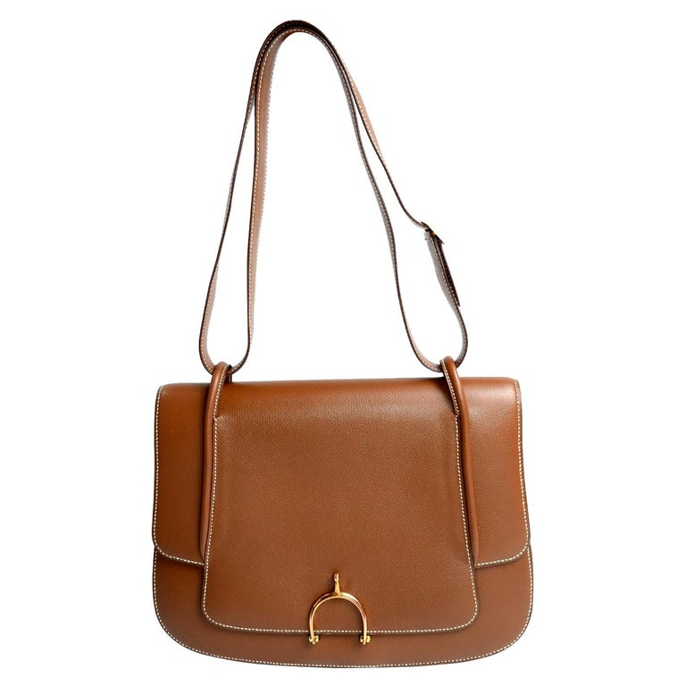 Vintage Hermes Bag in Brown Leather With Horse bit Buckle 1985 Handbag With Box For Sale