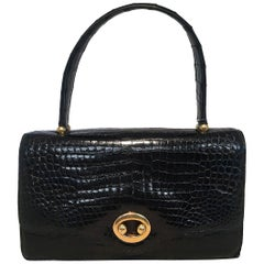 Vintage Hermes Black Alligator Handbag c1960s
