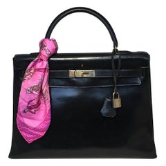 Vintage Hermes Black Box Calf Kelly 35
