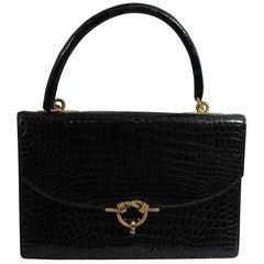 """Vintage Hermes Black crocodile """"Cordeliere"""" Shoulder Bag"""