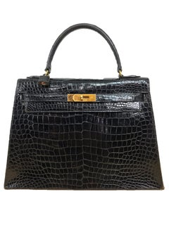 Vintage Hermes Black Crocodile Kelly Handbag mid 20th Century