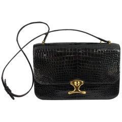 Vintage Hermes Black Porosus Shoulder Bag