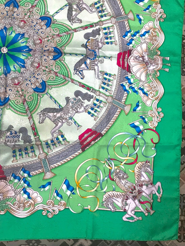 Vintage Hermes Carre Silk Scarf With Horse Carousel Print