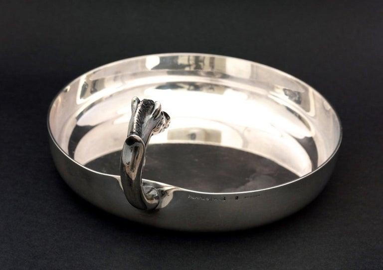 Vintage HERMES Catch All Horse Head Silver Jewelry Tray Dish In Good Condition For Sale In Kingersheim, Alsace