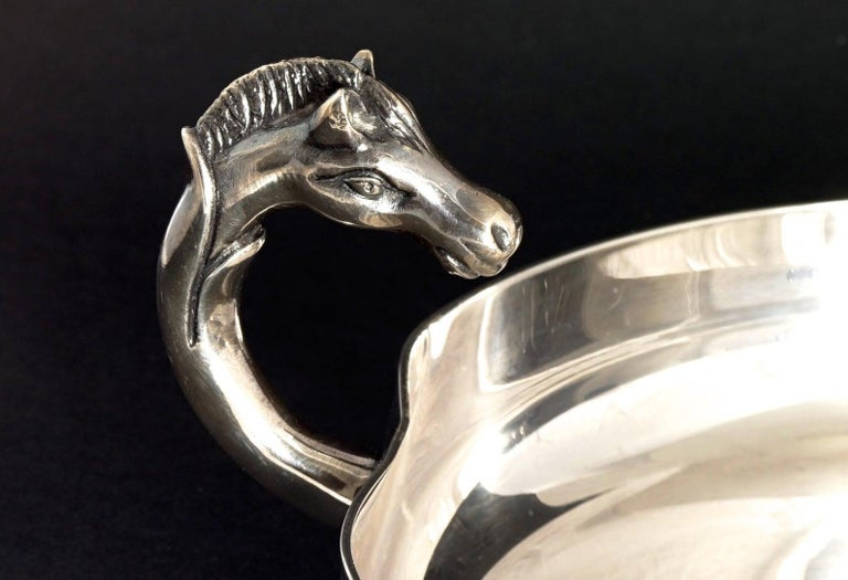 Women's or Men's Vintage HERMES Catch All Horse Head Silver Jewelry Tray Dish For Sale