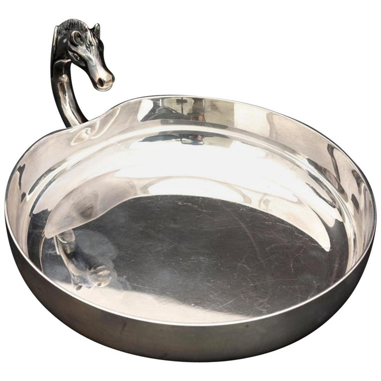 Vintage HERMES Catch All Horse Head Silver Jewelry Tray Dish For Sale