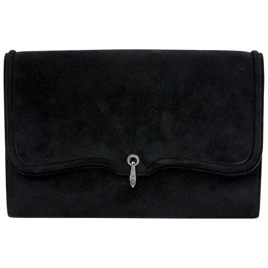 Vintage Hermes Clutch Black Suede