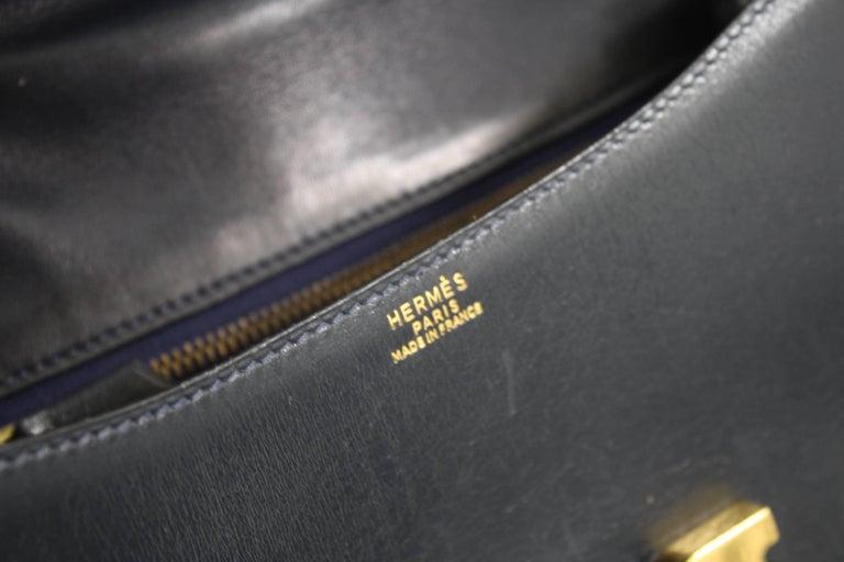 Black Hermes Vintage Constance Navy Bag in Navy leather and Golden Hardware For Sale