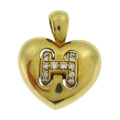 Vintage Hermes Diamond Gold Heart Pendant Charm