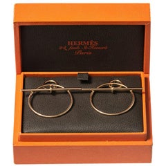 Vintage Hermès Earrings of Circular Hoops of Abstract Design, French, circa 1980