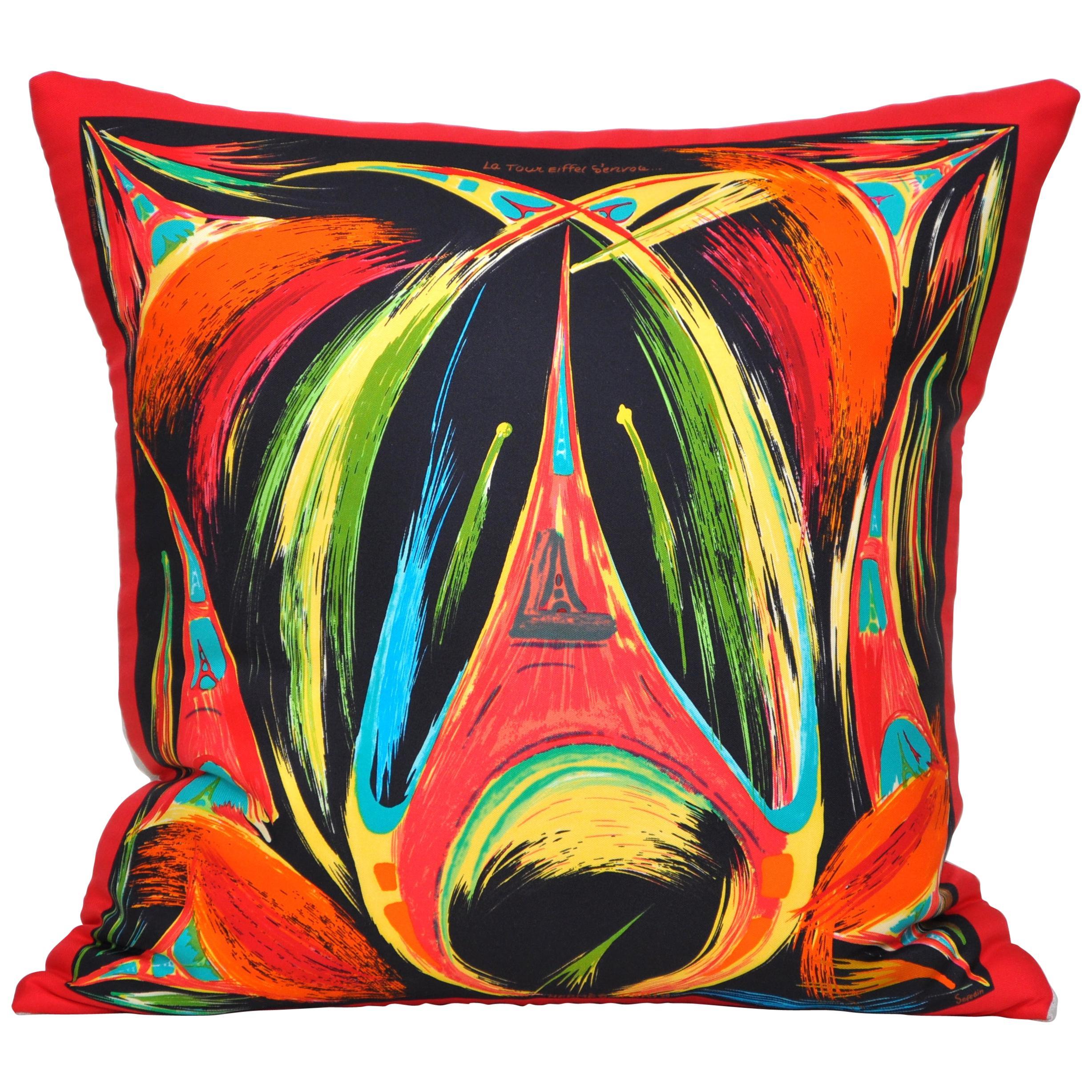 Vintage Hermès Eiffel Tower Paris Silk Scarf and Irish Linen Cushion Pillow