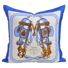 Vintage Hermes Equestrian Silk Scarf and Irish Linen Cushion Pillow