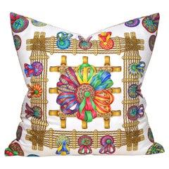 Vintage Hermes Equestrian Silk Scarf and Irish Linen Cushion Pillow