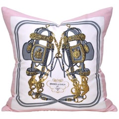 Vintage Hermes Equestrian Silk Scarf and Irish Linen Cushion Pillow Pink Gold