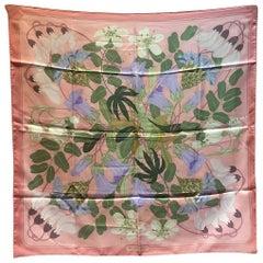 Vintage Hermes Floral Graeca Pink Silk Scarf
