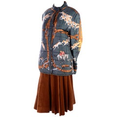 Vintage Hermes Fox Hunt Scarf Print Reversible Jacket & Brown Corduroy Culottes