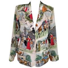 Vintage Hermès French Equestrian Race 100% Silk Scarf Print Jacket FR 38/ US 4 6