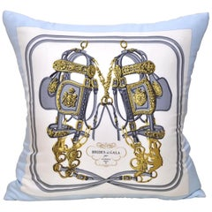 Vintage Hermes French Silk Scarf and Irish Linen Cushion Pillow Blue Gold