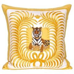 Vintage Hermès French Silk Scarf and Irish Linen Cushion Pillow Gold Yellow