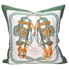 Vintage Hermes French Silk Scarf and Irish Linen Cushion Pillow Green Gold