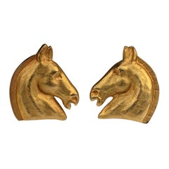 Vintage HERMES Gilt Horse Head Earrings